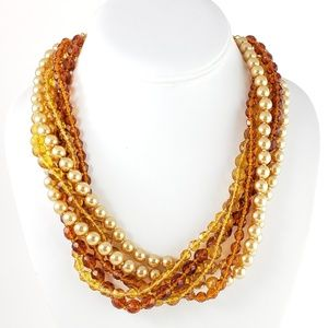 Kenneth Jay Lane Necklace Multi Strand Crystals